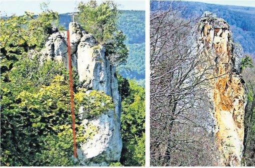 Der Wielandstein vor und nach dem Absturz Foto: Gisela Veigel, Landratsamt Esslingen