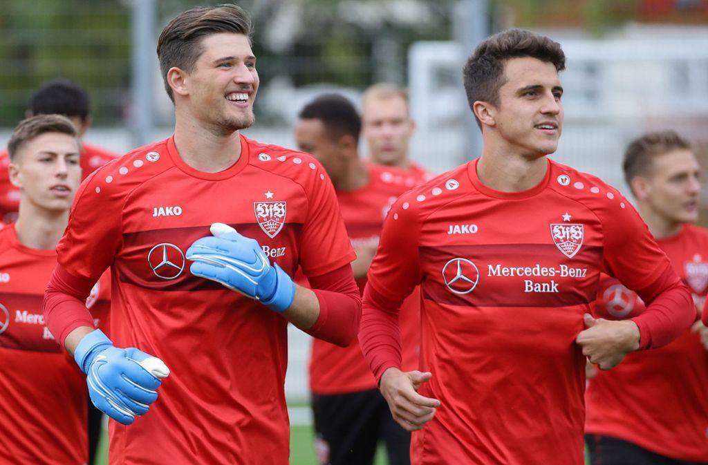 Am Tag nach der Verlobung hat Marc-Oliver Kempf (rechts) sichtlich Spaß beim Training. Foto: Pressefoto Baumann/Hansjürgen Britsch