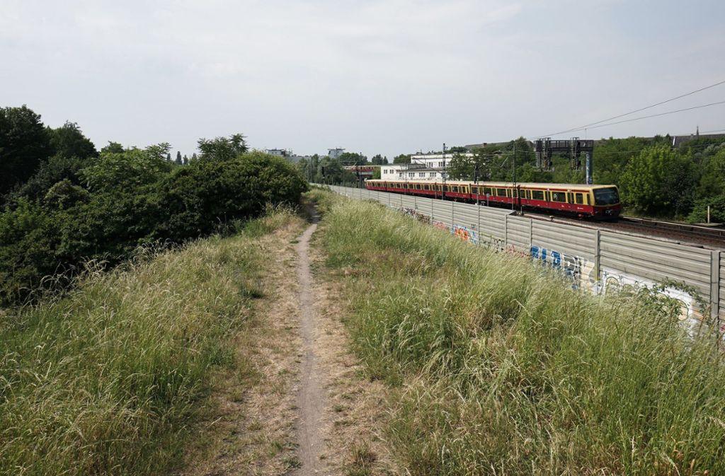 Der Bahndamm an der Dolomitenstraße in Berlin. Hier wurde die 30-jährige Melanie R. aus Stuttgart tot aufgefunden. Foto: dpa