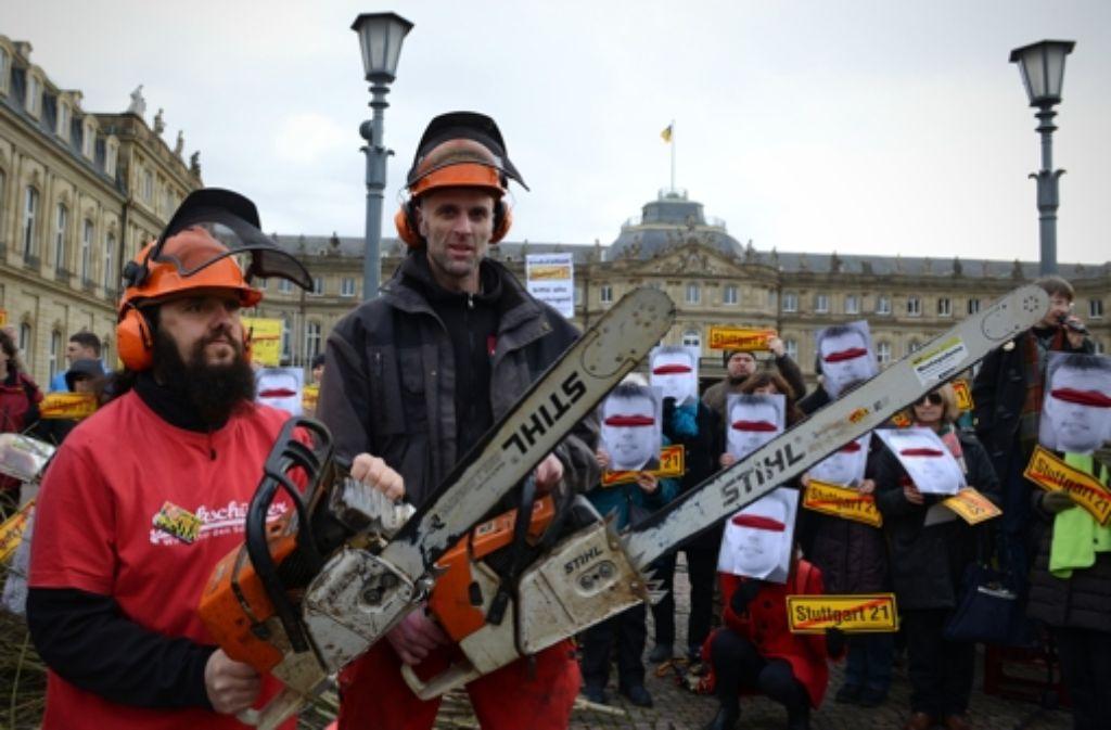 Der Protest gegen das Bahnprojekt Stuttgart 21 dauert an. Foto: dpa