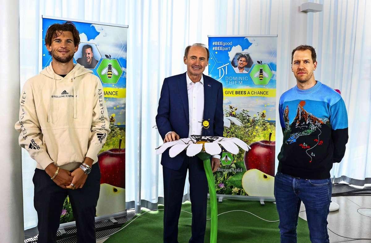 Umwelt und Natur haben es Sebastian Vettel (rechts) und Dominic Thiem (links) ganz besonders angetan. Foto: imago/GEPA pictures