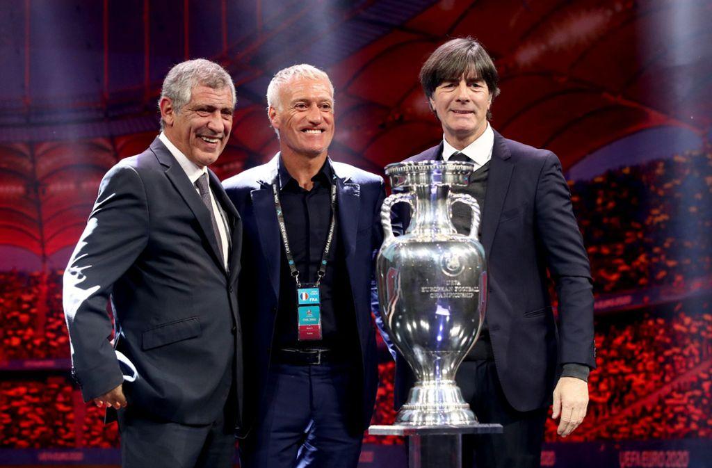Die Trainer von Europameister Portugal, Weltmeister Frankreich und Deutschland:  Fernando Santos, Didier Deschamps,  Joachim Löw (von links). Foto: dpa