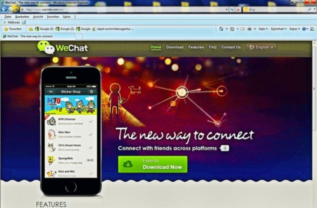 Außerhalb Chinas wird die App  Weixin unter dem Namen We Chat vertrieben. Foto: StZ