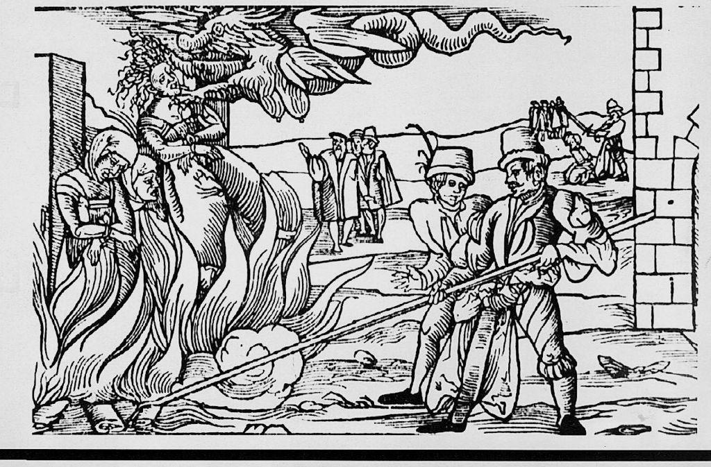 Zeitgenössische Darstellung einer Hexenverbrennung Foto: dpa