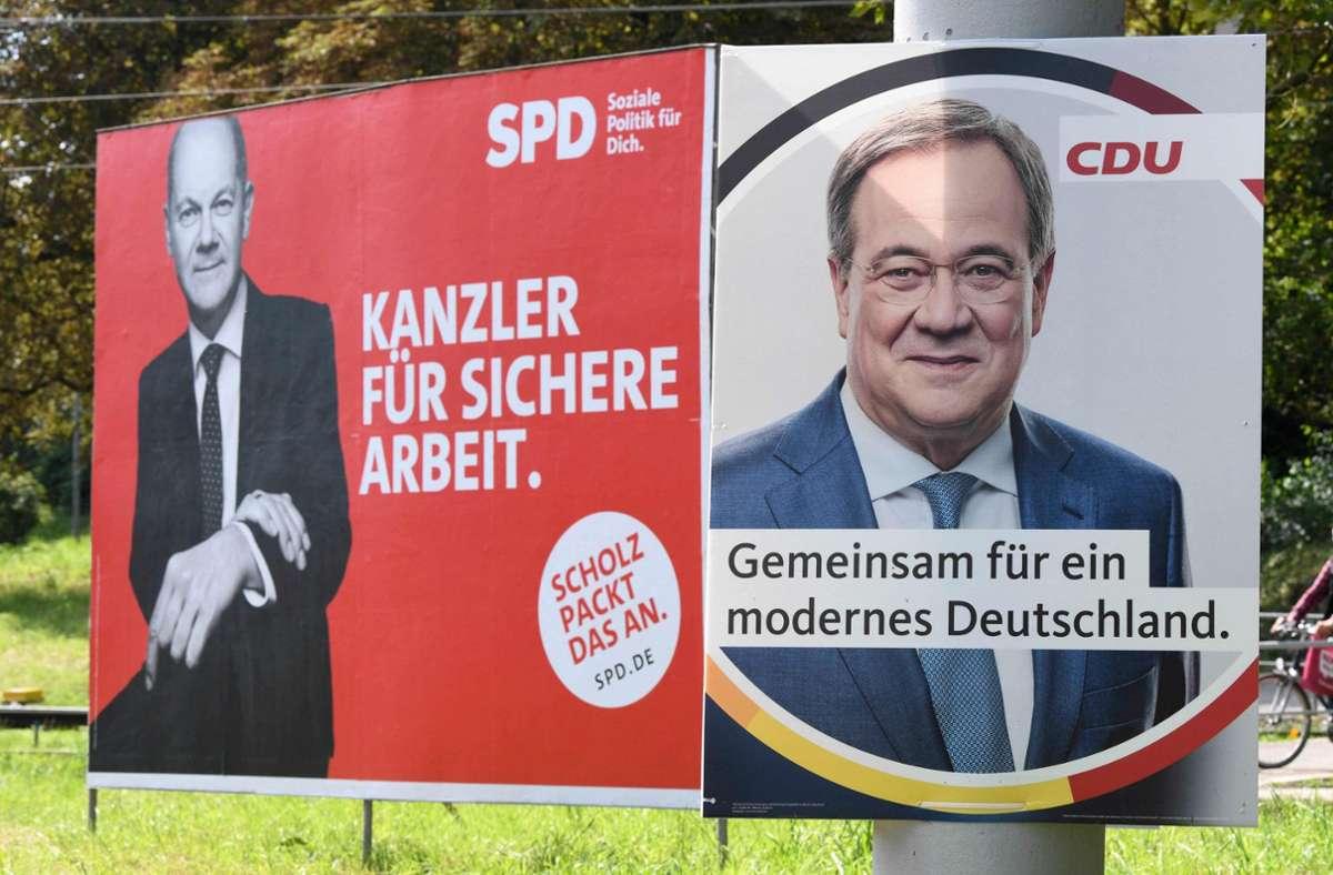 Die SPD hat die CDU in mehreren Umfragen überholt. Foto: AFP/THOMAS KIENZLE