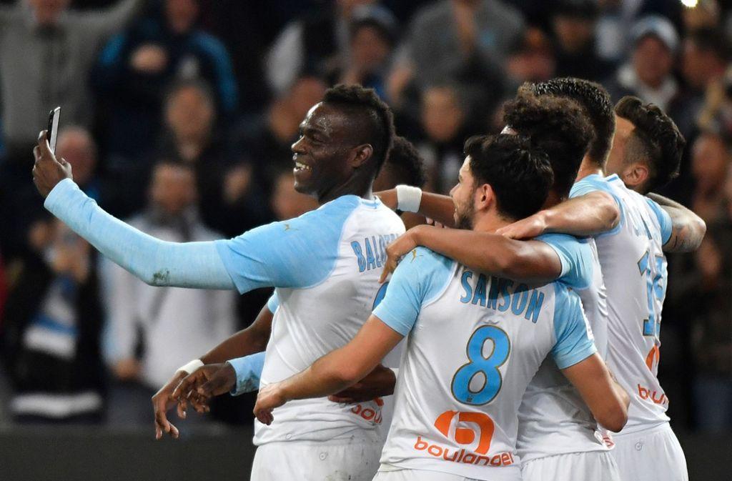 Jubel bei den französischen Fußball-Erstligisten Olympique Marseille. Foto: AFP