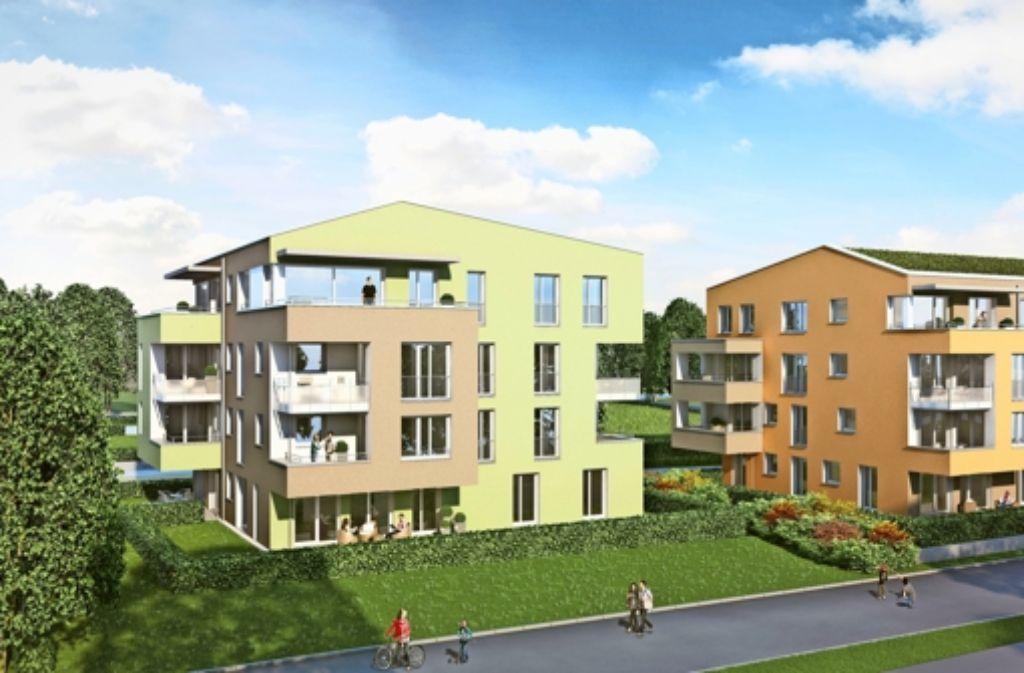 """An der Bernsteinstraße im Heumadener Wohngebiet """"Über der Straße""""  entstehen derzeit Eigentumswohnungen des Stuttgarter Siedlungswerks. Sie sind mittlerweile alle verkauft. Foto: Siedlungswerk"""
