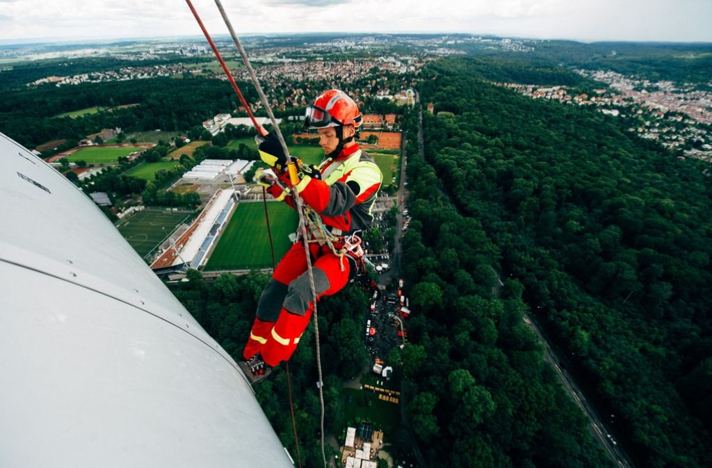 Nichts für schwache Nerven: Abseilen am Stuttgarter Fernsehturm. Foto: 7aktuell.de/Gerlach