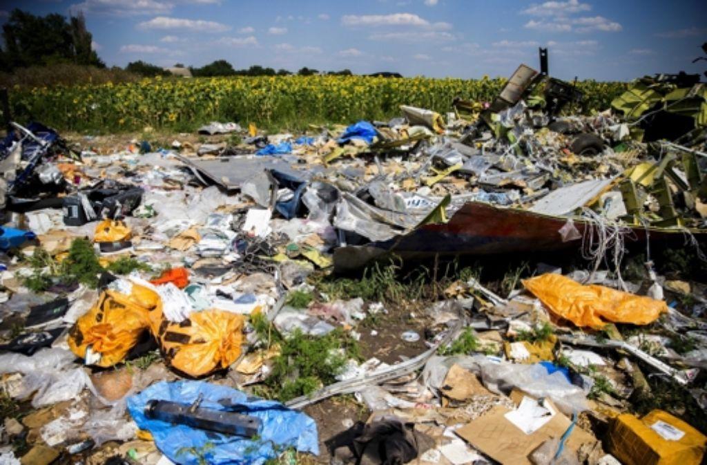 Die Absturzstelle des Fluges MH17 im Osten der Ukraine Foto: dpa