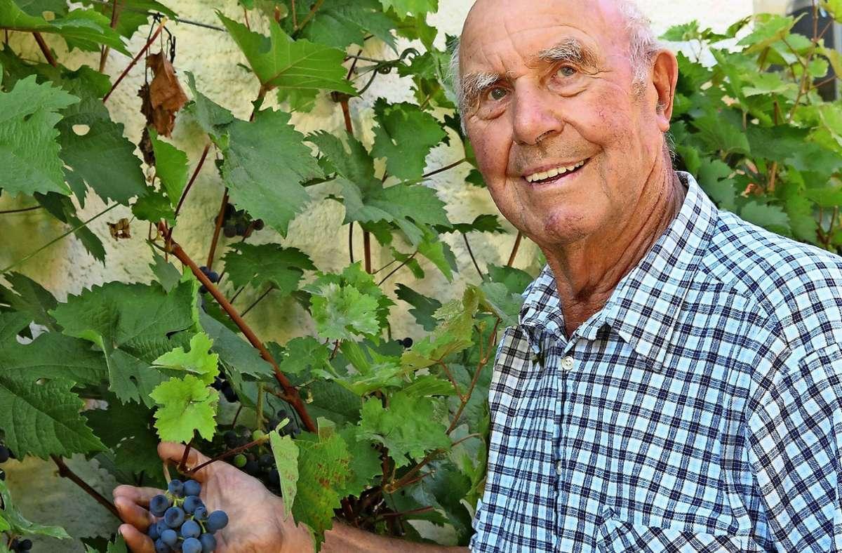 Gerhard Hummel hat auch das Schneiden von Weintrauben optimiert. Foto: Brigitte Hess