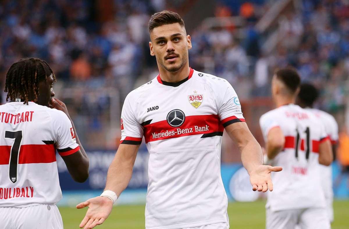 Konstantinos Mavropanos ist enttäuscht. Sein Treffer für den VfB Stuttgart gegen den VfL Bochum wurde aberkannt. Foto: Pressefoto Baumann/Julia Rahn