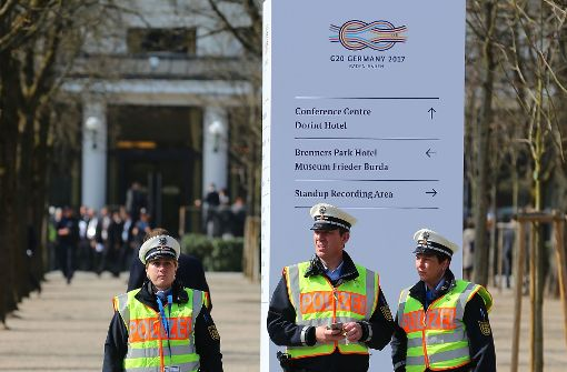 Ein starkes Polizeiaufgebot sichert den G20-Gipfel in Baden-Baden. Foto: Getty Images Europe