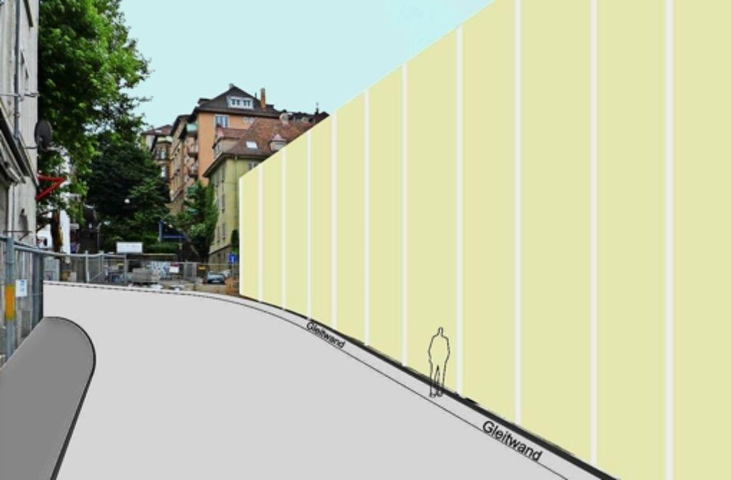 Die Bahn hatte erst nicht die Absicht, eine Mauer zu errichten. Nun zwingt sie der Lärmschutz dazu. Die Abbildung ist nicht massstäblich. Foto: Bahnprojekt Stuttgart-Ulm