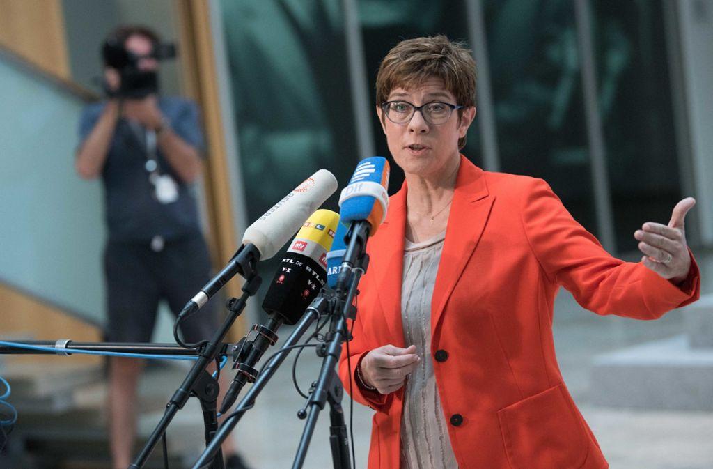 CDU-Chefin Annegret Kramp-Karrenbauer steht parteiintern in der Kritik. Foto: dpa