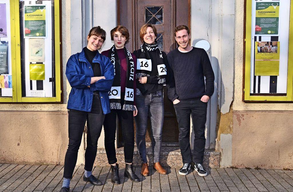 Franziska Doll, Sarah Ann Sutter, Carolin Lahode und Sebastian Klawiter von der Initiative Stadtlücken  (von links) präsentierten ihre Ideen im Westquartier. Foto: Fatma Tetik