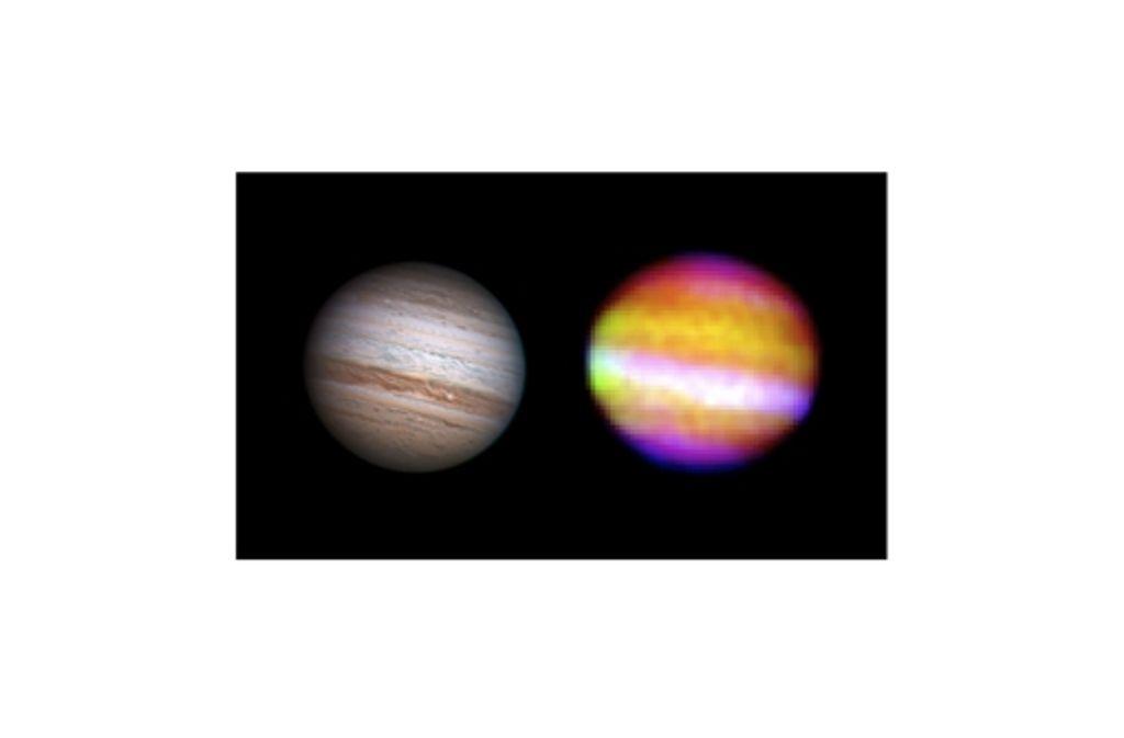 Zwei Ansichten des Gasplaneten Jupiter, des größten Planeten im Sonnensystem: links im normalen Licht, rechts im Infraroten – aufgenommen von Sofia. Foto: Anthony Wesley und Nasa