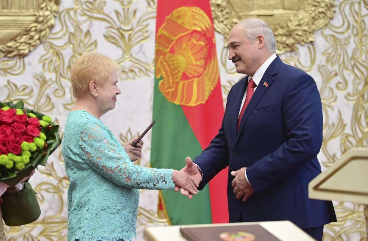 Alexander Lukaschenko bei seiner Vereidigung. Foto: dpa/Andrei Stasevich