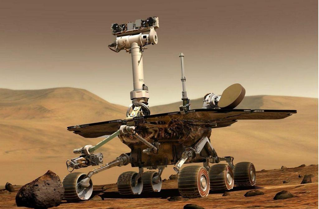 Mars-Rover der Raumsonde Opportunity: Im Juli 2003 startete die US-Sonde zur geologischen Erforschung des Mars. Die Sonde hieß ursprünglich mit vollem Namen Mars Exploration Rover B (MER-B) und wurde dann in Opportunity umbenannt. Sie landete am 25. Januar 2004  in einem kleinen Krater und ist seitdem auf der Marsoberfläche aktiv. Foto: dpa