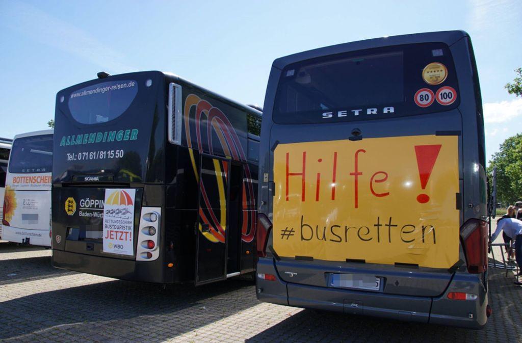 """Am Mittwoch fand der bundesweite Aktionstag unter dem Motto """"Busunternehmen jetzt retten"""" statt. Foto: 7aktuell.de/Andreas Werner"""
