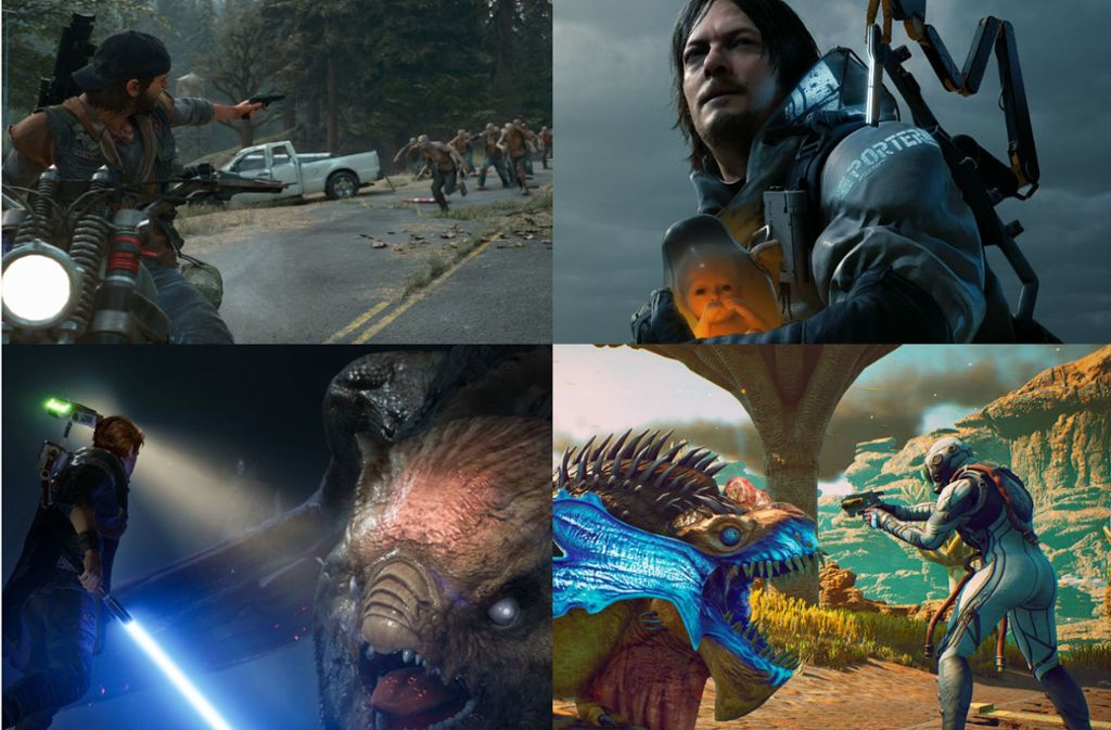 Days Gone, Death Stranding, Star Wars: Jedi Fallen Order und The Outer Worlds (von links nach rechts) – vier Titel, die in der Redaktion 2019 getestet wurden. Foto: Sony/Electronic Arts/Obsidian Entertainment