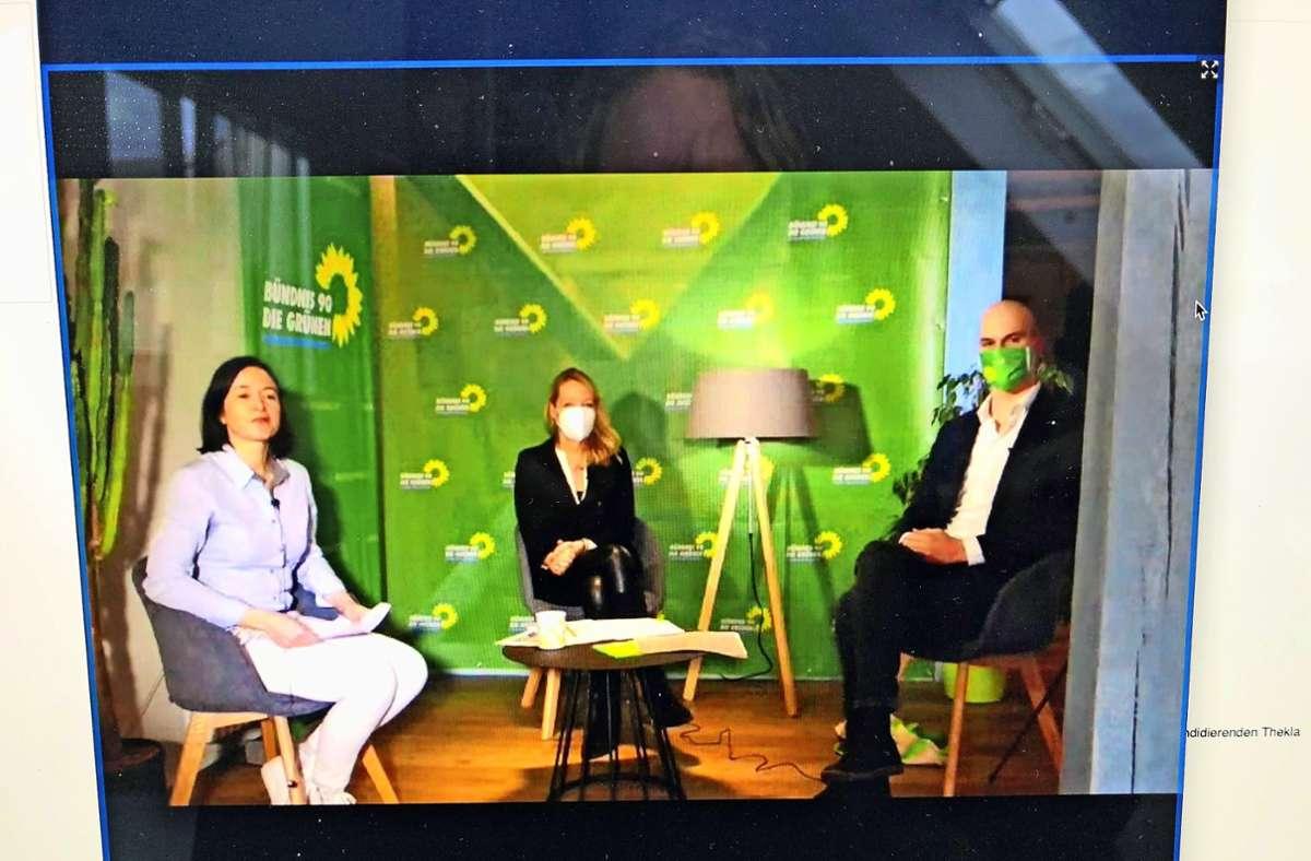 Auftakt übers Internet: Die Kandidaten der Grünen erklären in Böblingen ihr Wahlprogramm. Foto: StZ