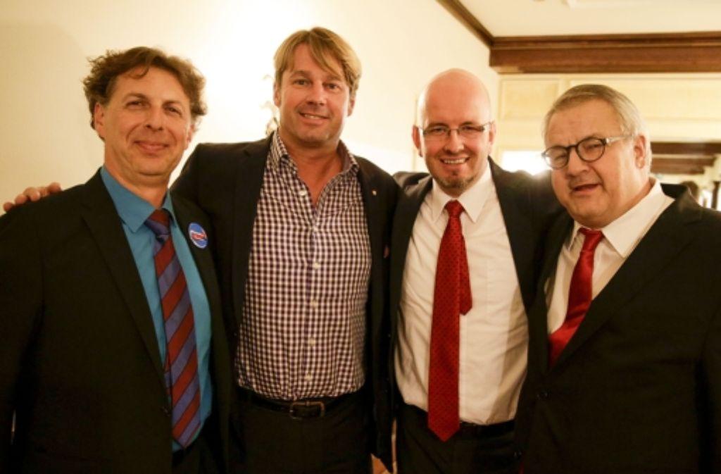 Die AfD-Bewerber für den Landtag: (von links): Alexander Beresowski, Bernd Klingler,  Dirk Stroeder  und Eberhard Brett. Foto: Lichtgut/Leif Piechowski