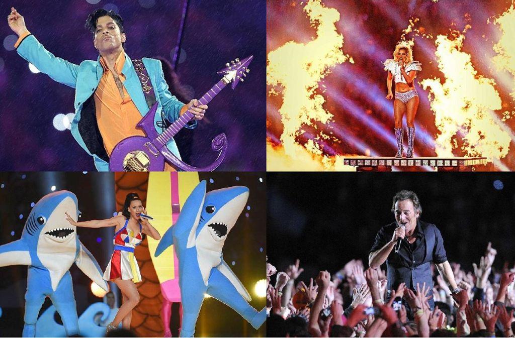 Vier der besten Halbzeitshows in der Geschichte des Super Bowl: Prince, Lady Gaga, Bruce Springsteen und Katy Perry (von links oben im Uhrzeigersinn) Foto: AFP, dpa