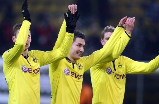 Jubel in Gelb: Dortmund kristallisiert sich immer mehr als ernsthaftester Verfolger des FC Bayern heraus. Foto: dpa