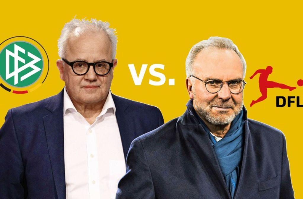 Konfrontationskurs? Fritz Keller (links) und Karl-Heinz Rummenigge. Foto: imago/Martin Ewert/Martin HoffmannMontage: Ruckaberle