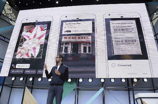 Google-Firmenchef Sundas Pichai spricht auf der Entwicklerkonferenz Google I/O. Foto: AP