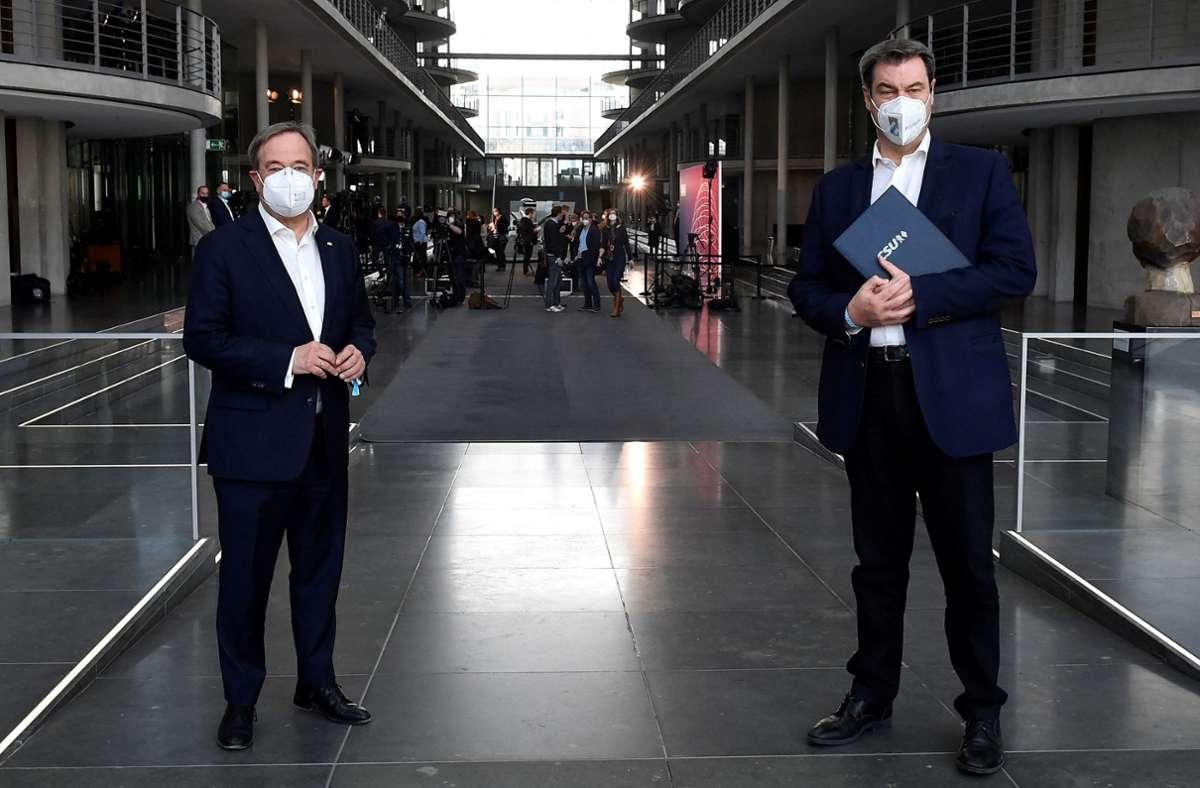 Armin Laschet und Markus Söder Foto: AFP/TOBIAS SCHWARZ