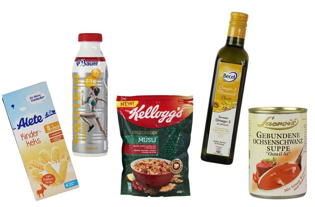 """Diese fünf Lebensmittel hat Foodwatch als Kandidaten für den """"Goldenen Windbeutel 2017"""" ausgewählt. Die Verbraucher entscheiden, wer den Preis für die dreisteste Werbelüge verdient hat. Foto: Foodwatch"""