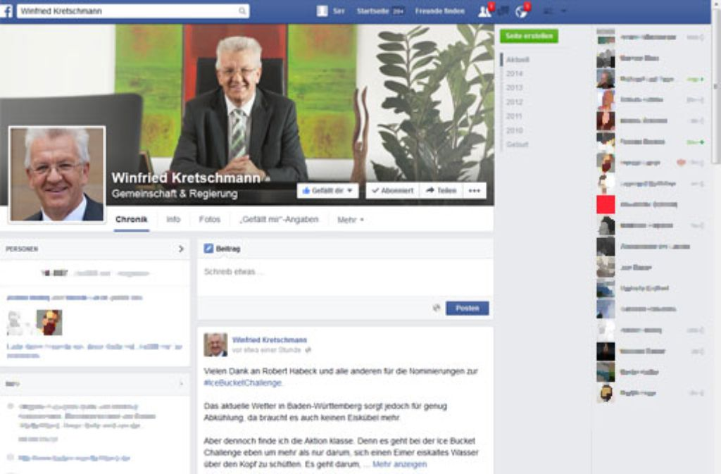 MP Winfried Kretschmann macht sich bei der Ice Bucket Challenge nicht nass, spendet aber trotzdem für die ALS-Forschung. Foto: Facebook/Screenshot: SIR