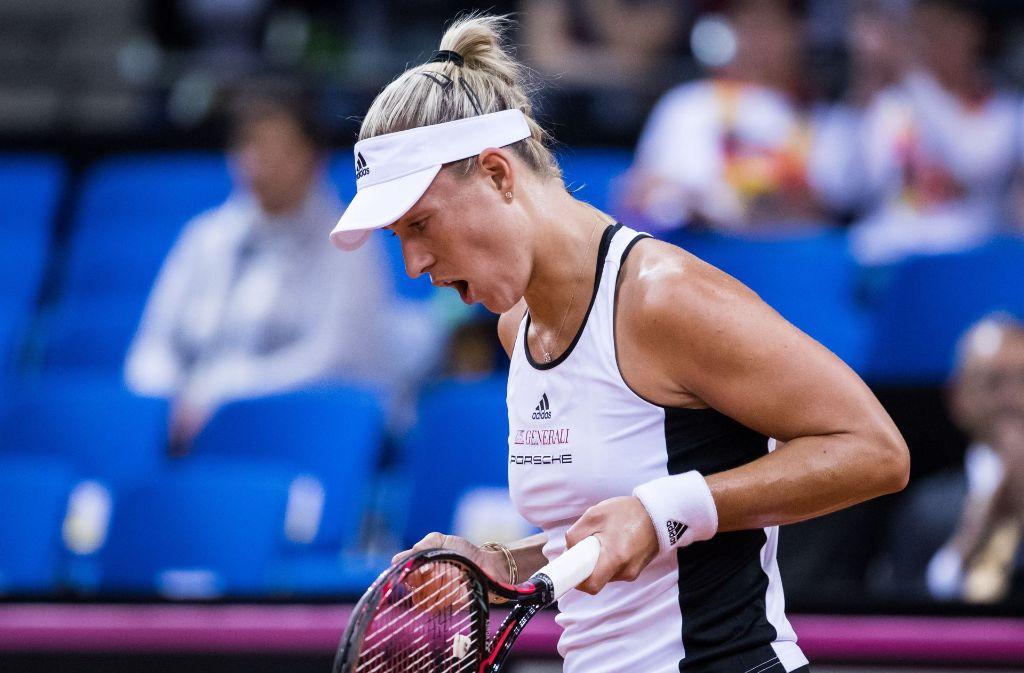 Angelique Kerber freut sich über einen Punkt im Match gegen Lesia Tsurenko aus der Ukraine. Foto: Bongarts