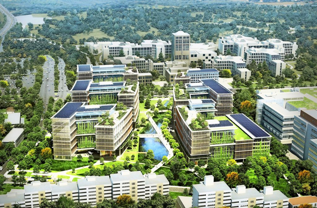 Siegreicher Entwurf, aber:  Einige Gebäude sollen niedriger werden. Foto: Pickard Chilton/Glück Landschaftsarchitektur/ARP Stuttgart