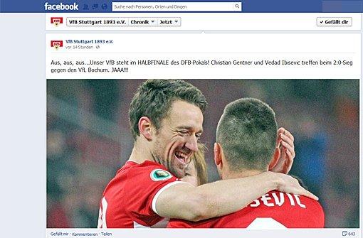 VfB: Halbfinal-Freude auf Facebook und Twitter