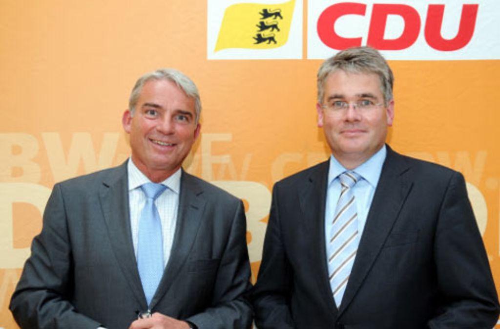 Winfried Mack (rechts) und Thomas Strobl wollen die CDU im Land führen. Foto: dpa
