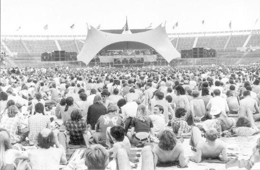 Die Rolling Stones spielen 1976 im Neckarstadion