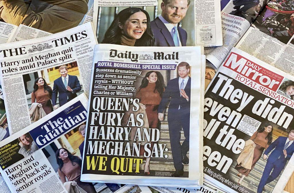 Es gibt nur ein Thema für Großbritanniens Presse: Der Rückzug von Herzogin Meghan und Prinz Harry. Foto: AFP/Daniel Leal-Olivas