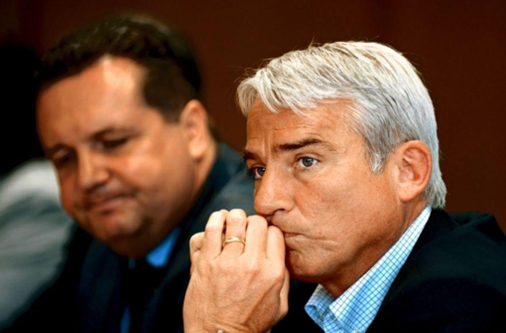 Ex-Parteichef Stefan Mappus  (links) und sein damaliger Geschäftsführer Thomas Strobl musste im Wahlkampf 2011 rund 400 000 Euro mehr ausgeben, als geplant. Foto: dpa