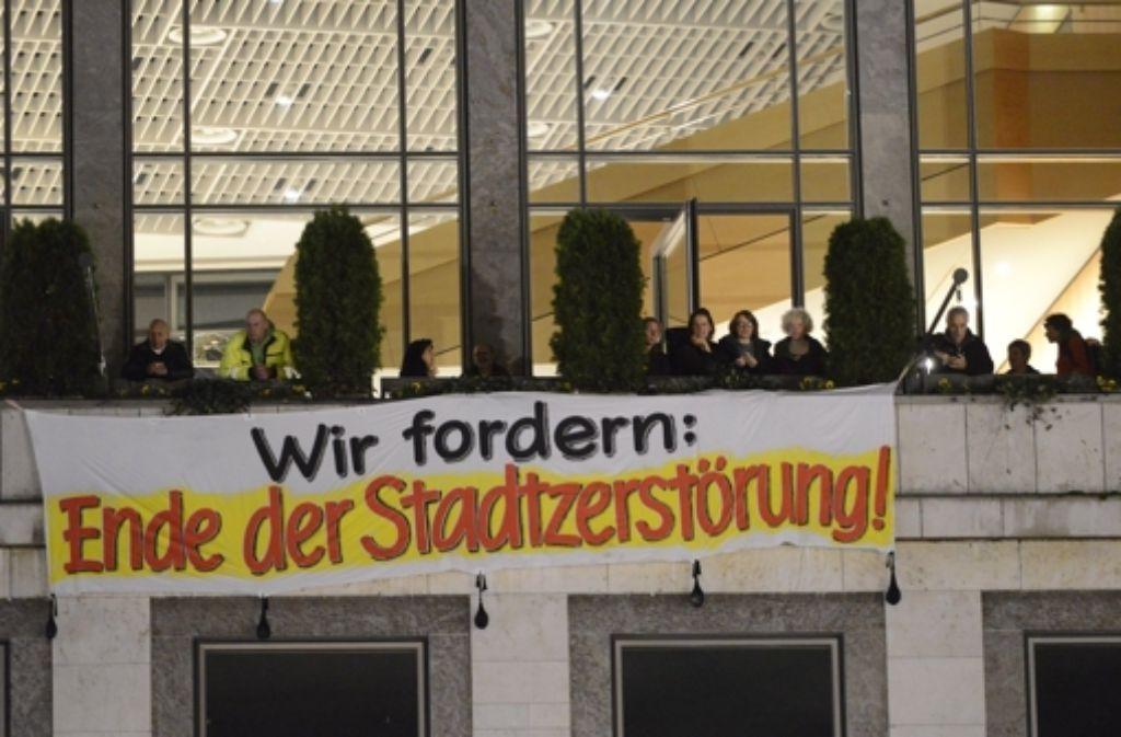 Im November 2012 hatten Demonstranten das Stuttgarter Rathaus besetzt. Foto: 7aktuell.de/Eyb