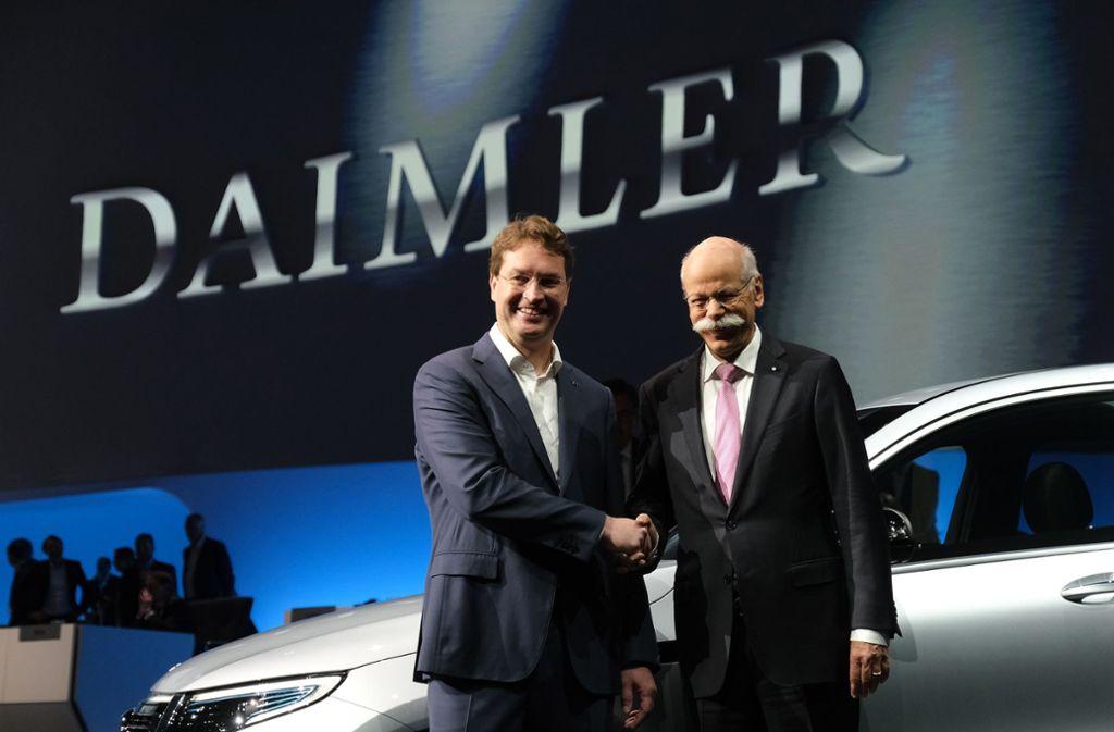 Dieter Zetsche und sein Nachfolger Ola Källenius. Foto: Getty Images