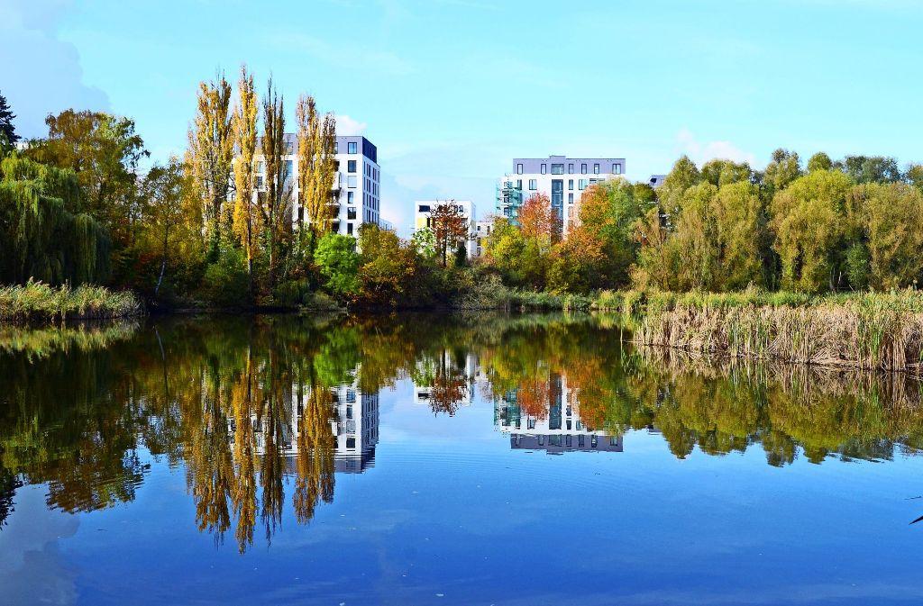 Der Seepark auf dem einstigen Neoplan-Gelände zwischen der Vaihinger Straße und dem Probstsee war in der Vergangenheit eines der größten Wohnbauprojekte. Foto: Archiv Hintermayr