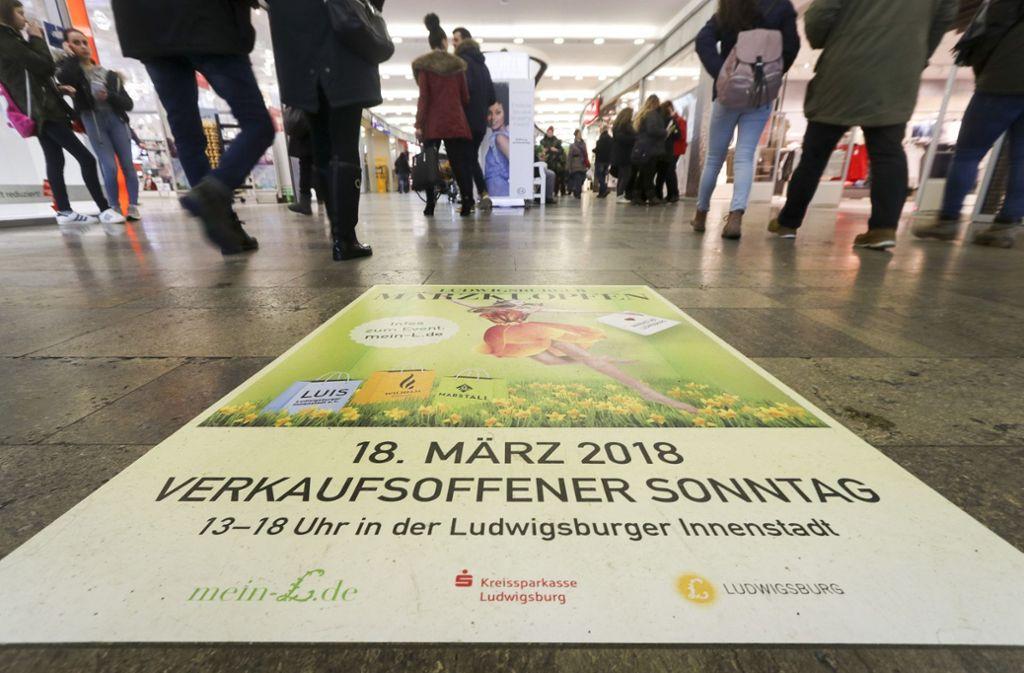 Verkaufsoffene Sonntage – wie hier in Ludwigsburg – geben oft Anlass zu Streit zwischen den Gewerbetreibenden und den Gewerkschaften. Foto: factum/Granville