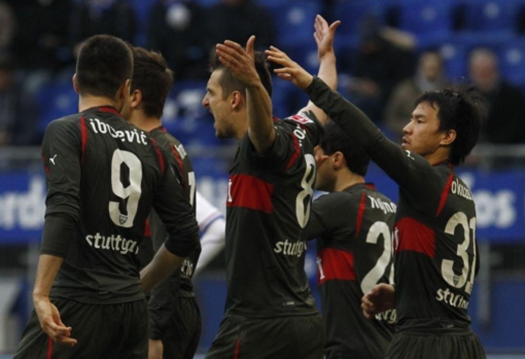 Beim 4:0 in Hamburg haben die VfB-Spieler viel Grund zur Freude. Foto: dapd