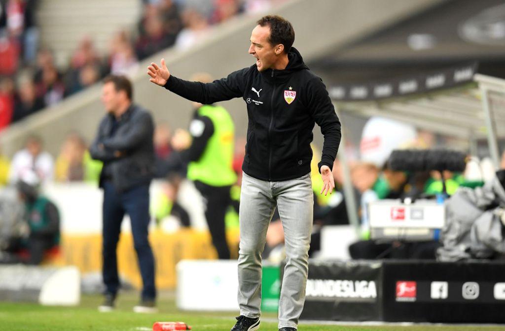 Nico Willig vom VfB Stuttgart trieb seine Mannschaft gegen Borussia Mönchengladbach leidenschaftlich an. Foto: Bongarts