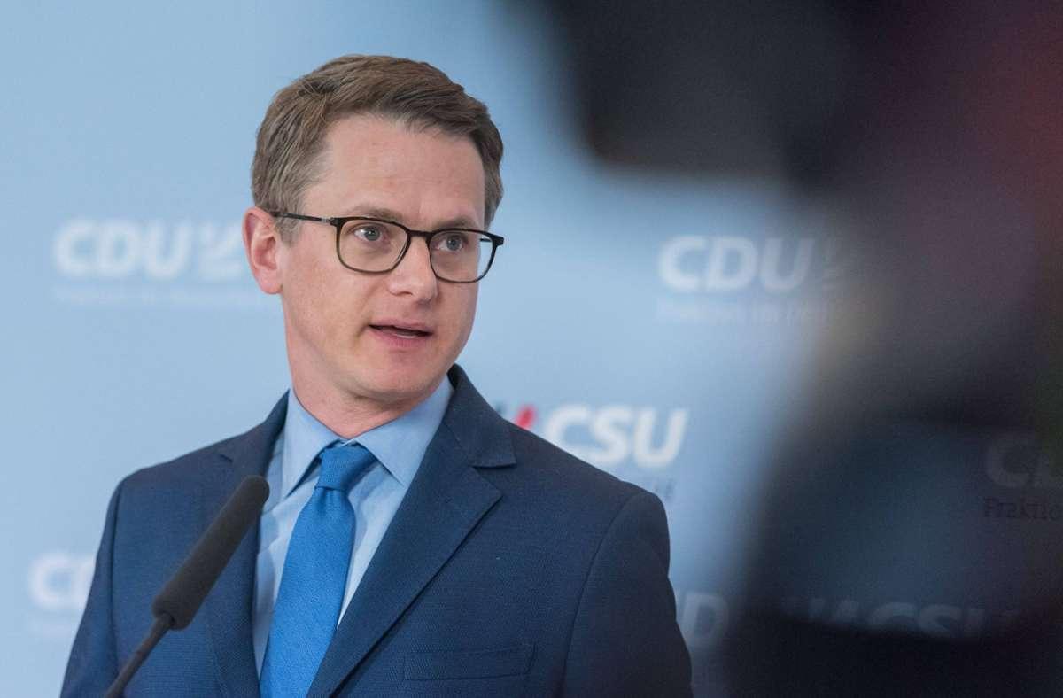 """Unionsfraktionsvize Fraktionsvize Carsten Linnemann will einen klaren """"Exit nach der Krise"""". Foto: imago/Christian Spicker"""