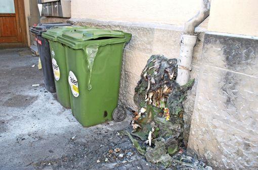 Grüne Tonne  in der Altstadt abgebrannt