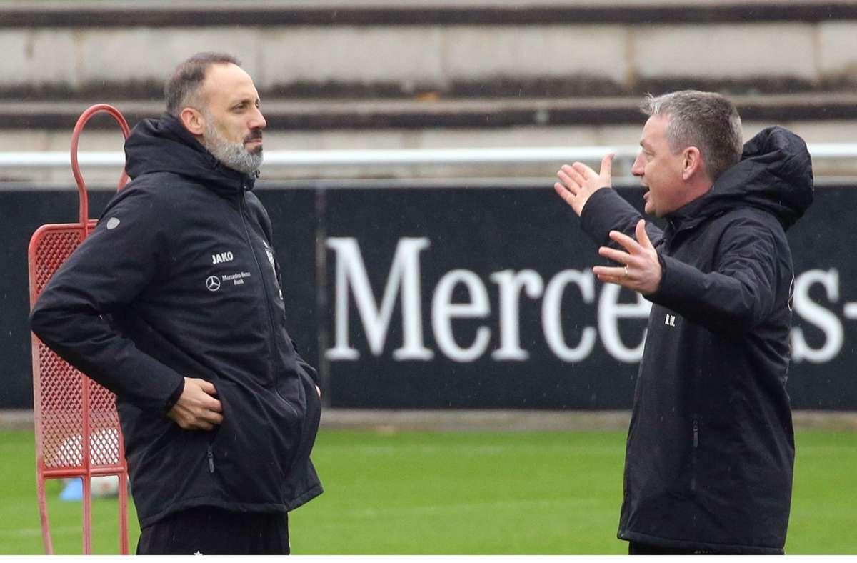 Rainer Widmayer (rechts, mit Chefcoach Pellegrino Matarazzo) ist nicht mehr Co-Trainer beim VfB Stuttgart. Foto: Pressefoto Baumann/Hansjürgen Britsch