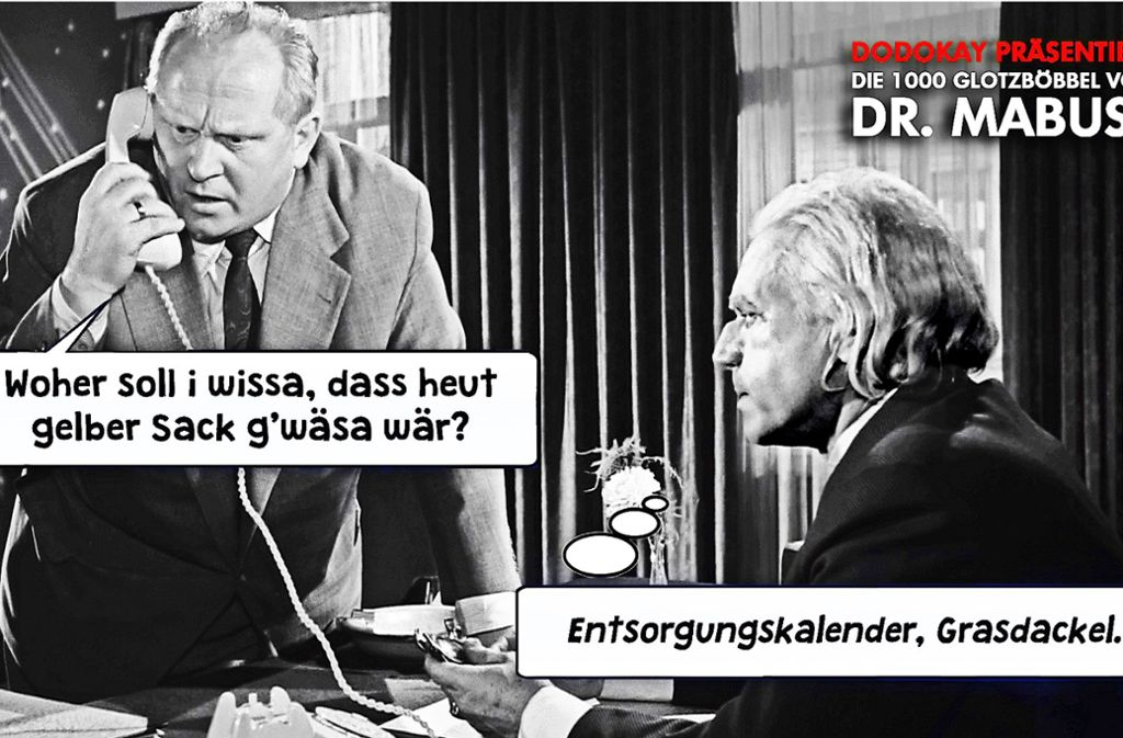 """Diese Version von """"Dr. Mabuse"""" mit Gert Fröbe (li.) und Wolfgang Preiss spielt eindeutig in der Gegenwart – und im Schwäbischen. Foto: Starpatrol Entertainment"""